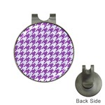 HOUNDSTOOTH1 WHITE MARBLE & PURPLE DENIM Hat Clips with Golf Markers Front