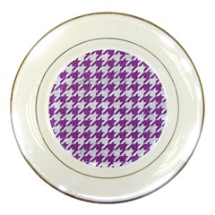 Houndstooth1 White Marble & Purple Denim Porcelain Plates by trendistuff