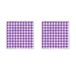 HOUNDSTOOTH1 WHITE MARBLE & PURPLE DENIM Cufflinks (Square) Front