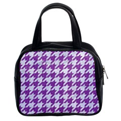 Houndstooth1 White Marble & Purple Denim Classic Handbags (2 Sides) by trendistuff