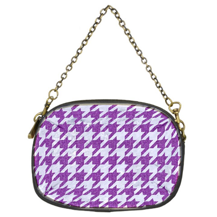 HOUNDSTOOTH1 WHITE MARBLE & PURPLE DENIM Chain Purses (Two Sides)