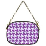 HOUNDSTOOTH1 WHITE MARBLE & PURPLE DENIM Chain Purses (Two Sides)  Back