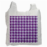 HOUNDSTOOTH1 WHITE MARBLE & PURPLE DENIM Recycle Bag (Two Side)  Front