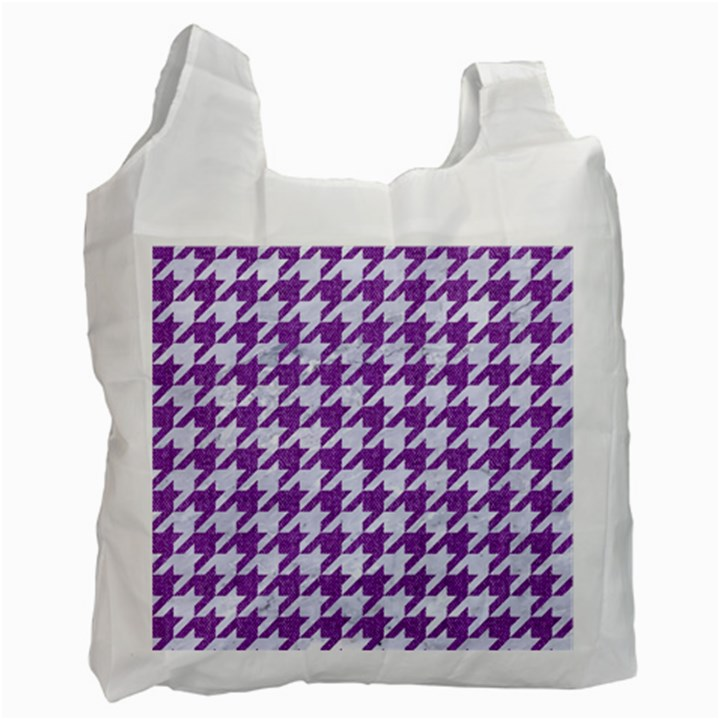 HOUNDSTOOTH1 WHITE MARBLE & PURPLE DENIM Recycle Bag (Two Side)