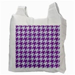 HOUNDSTOOTH1 WHITE MARBLE & PURPLE DENIM Recycle Bag (Two Side)  Back