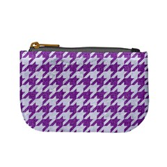 Houndstooth1 White Marble & Purple Denim Mini Coin Purses