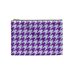 Houndstooth1 White Marble & Purple Denim Cosmetic Bag (medium)  by trendistuff