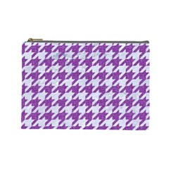Houndstooth1 White Marble & Purple Denim Cosmetic Bag (large)  by trendistuff
