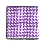 HOUNDSTOOTH1 WHITE MARBLE & PURPLE DENIM Memory Card Reader (Square) Front