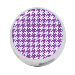 Houndstooth1 White Marble & Purple Denim 4 Port Usb Hub (one Side)