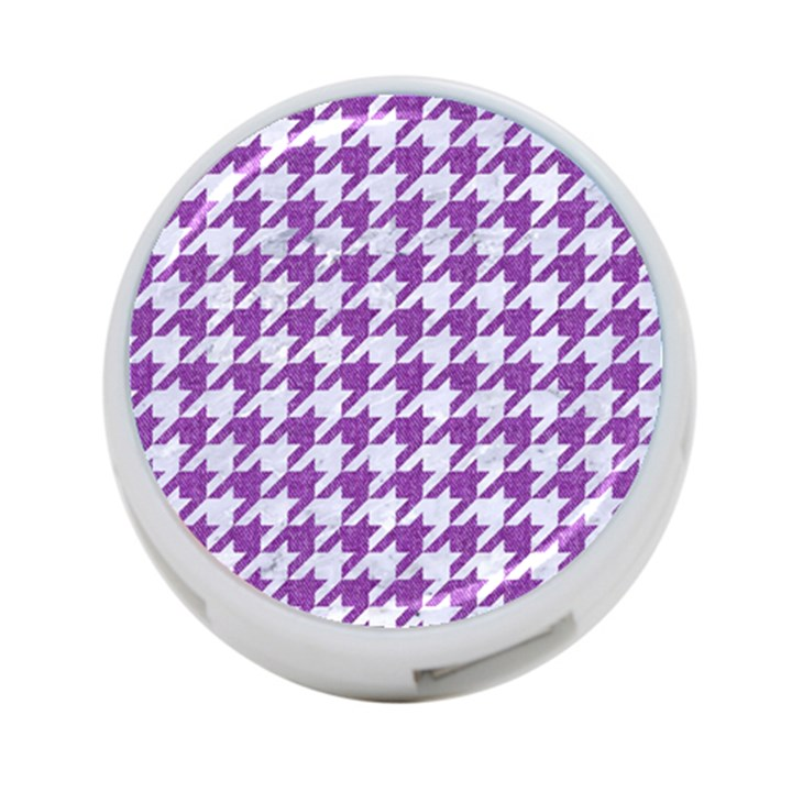 HOUNDSTOOTH1 WHITE MARBLE & PURPLE DENIM 4-Port USB Hub (One Side)