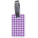 HOUNDSTOOTH1 WHITE MARBLE & PURPLE DENIM Luggage Tags (Two Sides) Front