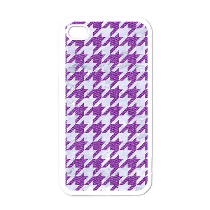 HOUNDSTOOTH1 WHITE MARBLE & PURPLE DENIM Apple iPhone 4 Case (White)