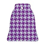 HOUNDSTOOTH1 WHITE MARBLE & PURPLE DENIM Bell Ornament (Two Sides) Back