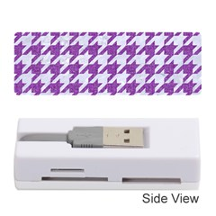 Houndstooth1 White Marble & Purple Denim Memory Card Reader (stick)