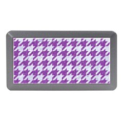 Houndstooth1 White Marble & Purple Denim Memory Card Reader (mini)