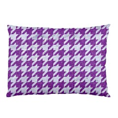 Houndstooth1 White Marble & Purple Denim Pillow Case (two Sides)