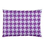 HOUNDSTOOTH1 WHITE MARBLE & PURPLE DENIM Pillow Case (Two Sides) Front