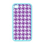 HOUNDSTOOTH1 WHITE MARBLE & PURPLE DENIM Apple iPhone 4 Case (Color) Front