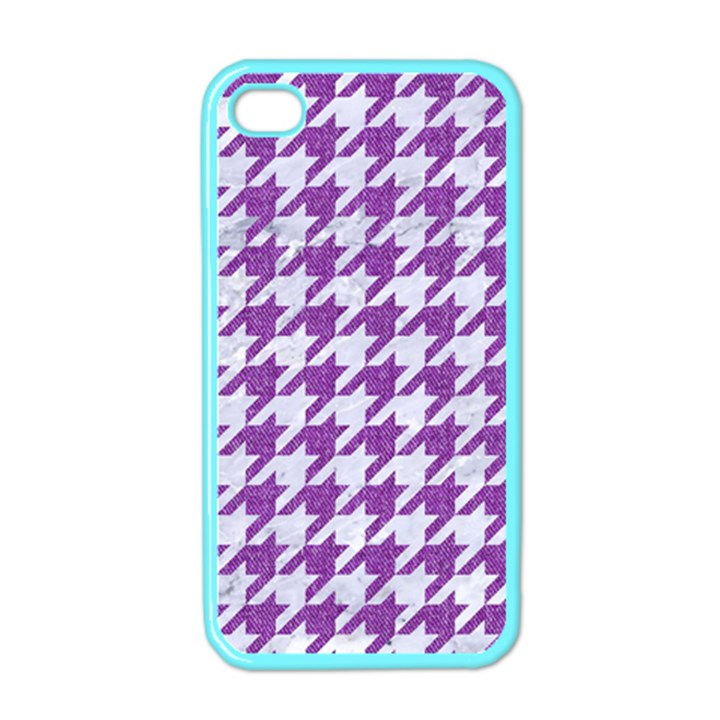 HOUNDSTOOTH1 WHITE MARBLE & PURPLE DENIM Apple iPhone 4 Case (Color)