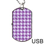 HOUNDSTOOTH1 WHITE MARBLE & PURPLE DENIM Dog Tag USB Flash (Two Sides) Back