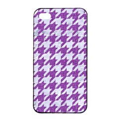 Houndstooth1 White Marble & Purple Denim Apple Iphone 4/4s Seamless Case (black) by trendistuff