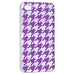 Houndstooth1 White Marble & Purple Denim Apple Iphone 4/4s Seamless Case (white)