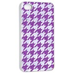 HOUNDSTOOTH1 WHITE MARBLE & PURPLE DENIM Apple iPhone 4/4s Seamless Case (White) Front