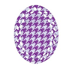 Houndstooth1 White Marble & Purple Denim Ornament (oval Filigree)