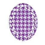 HOUNDSTOOTH1 WHITE MARBLE & PURPLE DENIM Ornament (Oval Filigree) Front
