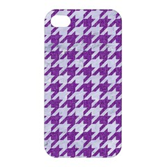 Houndstooth1 White Marble & Purple Denim Apple Iphone 4/4s Hardshell Case by trendistuff