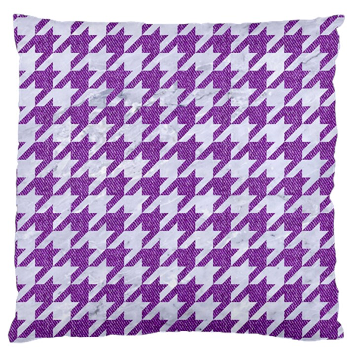 HOUNDSTOOTH1 WHITE MARBLE & PURPLE DENIM Large Cushion Case (Two Sides)