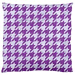 HOUNDSTOOTH1 WHITE MARBLE & PURPLE DENIM Large Cushion Case (Two Sides) Back