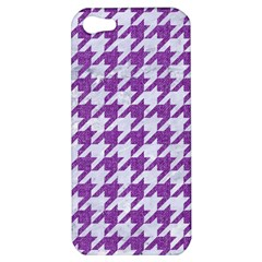 Houndstooth1 White Marble & Purple Denim Apple Iphone 5 Hardshell Case by trendistuff