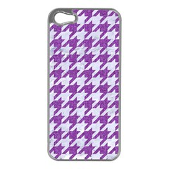 Houndstooth1 White Marble & Purple Denim Apple Iphone 5 Case (silver) by trendistuff