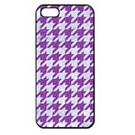 HOUNDSTOOTH1 WHITE MARBLE & PURPLE DENIM Apple iPhone 5 Seamless Case (Black) Front