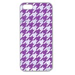 HOUNDSTOOTH1 WHITE MARBLE & PURPLE DENIM Apple Seamless iPhone 5 Case (Clear) Front