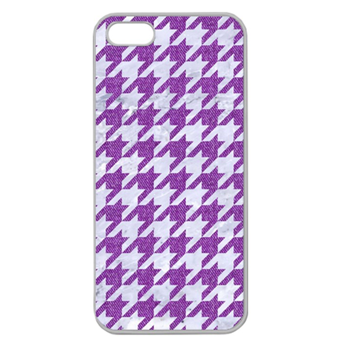 HOUNDSTOOTH1 WHITE MARBLE & PURPLE DENIM Apple Seamless iPhone 5 Case (Clear)