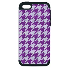 Houndstooth1 White Marble & Purple Denim Apple Iphone 5 Hardshell Case (pc+silicone) by trendistuff