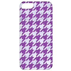 Houndstooth1 White Marble & Purple Denim Apple Iphone 5 Classic Hardshell Case by trendistuff