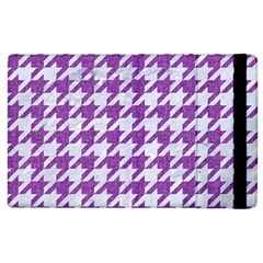 Houndstooth1 White Marble & Purple Denim Apple Ipad 2 Flip Case