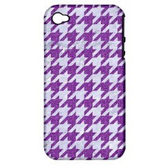 Houndstooth1 White Marble & Purple Denim Apple Iphone 4/4s Hardshell Case (pc+silicone) by trendistuff
