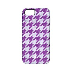 Houndstooth1 White Marble & Purple Denim Apple Iphone 5 Classic Hardshell Case (pc+silicone) by trendistuff