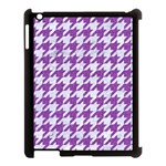 HOUNDSTOOTH1 WHITE MARBLE & PURPLE DENIM Apple iPad 3/4 Case (Black) Front