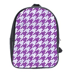 Houndstooth1 White Marble & Purple Denim School Bag (xl)