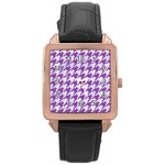 HOUNDSTOOTH1 WHITE MARBLE & PURPLE DENIM Rose Gold Leather Watch  Front