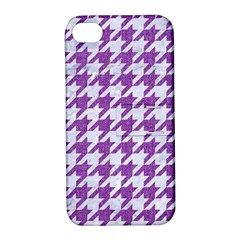 Houndstooth1 White Marble & Purple Denim Apple Iphone 4/4s Hardshell Case With Stand by trendistuff