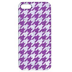 Houndstooth1 White Marble & Purple Denim Apple Iphone 5 Hardshell Case With Stand by trendistuff