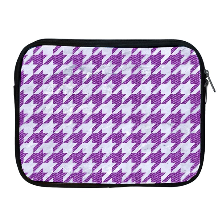 HOUNDSTOOTH1 WHITE MARBLE & PURPLE DENIM Apple iPad 2/3/4 Zipper Cases