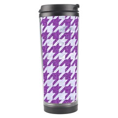 Houndstooth1 White Marble & Purple Denim Travel Tumbler by trendistuff